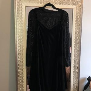 Black Velvet long sleeved lace dress